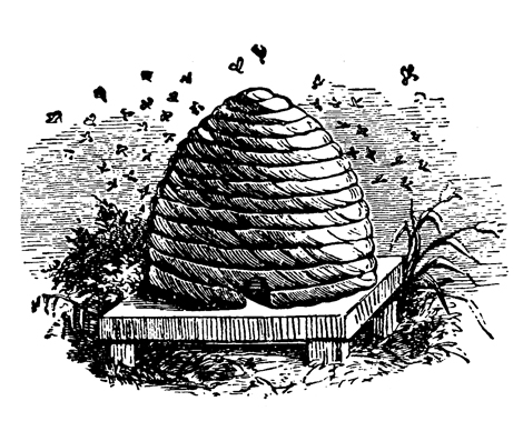 A woodcut of a straw beehive